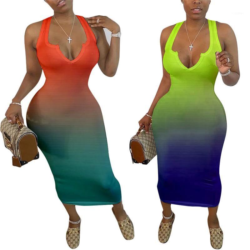 Женщины градиент цвета платья женщин конструктора бретели Bodycon платье V образным вырезом без рукавов карандаш платья Летняя мода