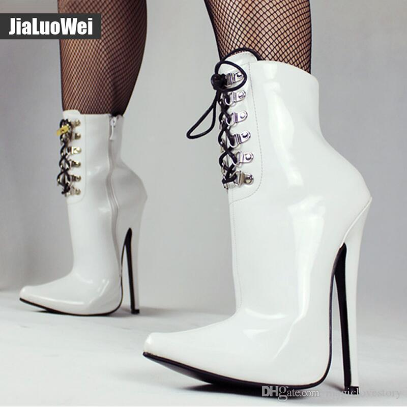 السيدات مثير صنم الغريبة التمهيد 18 سنتيمتر رقيقة عالية الكعب أحذية النساء بو الجلود أشار تو الخنجر الكاحل bdsm عبر خلع الملابس الأحذية