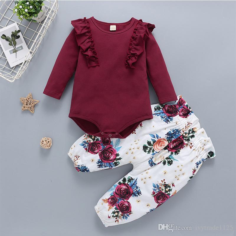 100% хлопка для новорожденных Детская одежда Вино красное Romper техники Детские для девочек 3 шт набор наборы Romper + цветок Pant + оголовье Детская одежда