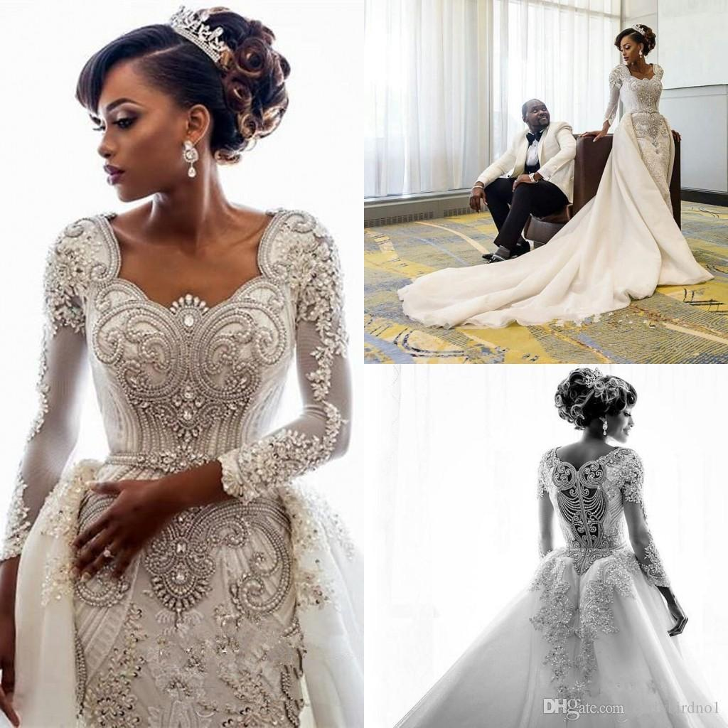 Luxury Crystal Beaded Long Sleeved Dubai Arabic Mermaid Wedding Dresses With Detachable Train Sexy Real Pictures Plus Size Bridal Gown