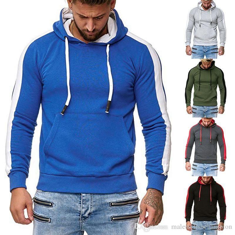 Manga para hombre del diseñador sudaderas remiendo de otoño de color larga con capucha para hombre camisetas de la manera delgada para hombre de la ropa con bolsillos