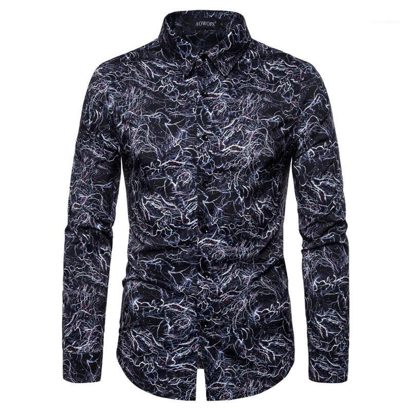 Cuello de manga larga camisetas casual de diseño delgado para hombre de las camisetas para hombre digital impresa camisas casual de solapa