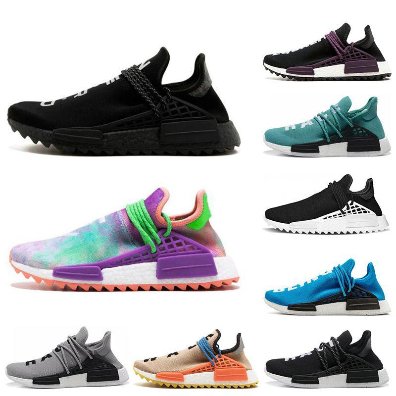 Hot Human Race Hu Trail Pharrell Williams Running Shoes For Mens Womens Nerd Black Cream Orange Red Mens Trainer Runner Sneakers 36-47