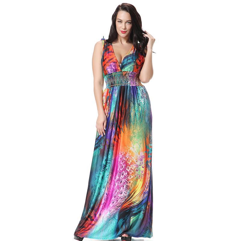 Bayan Maxi Uzun Elbiseler Artı Boyutu 5XL 6XL 7XL Büyük Plaj Sundress Kolsuz Büyük Bohemian 4XL Slim XXXL Boho Elbise Yaz 2018