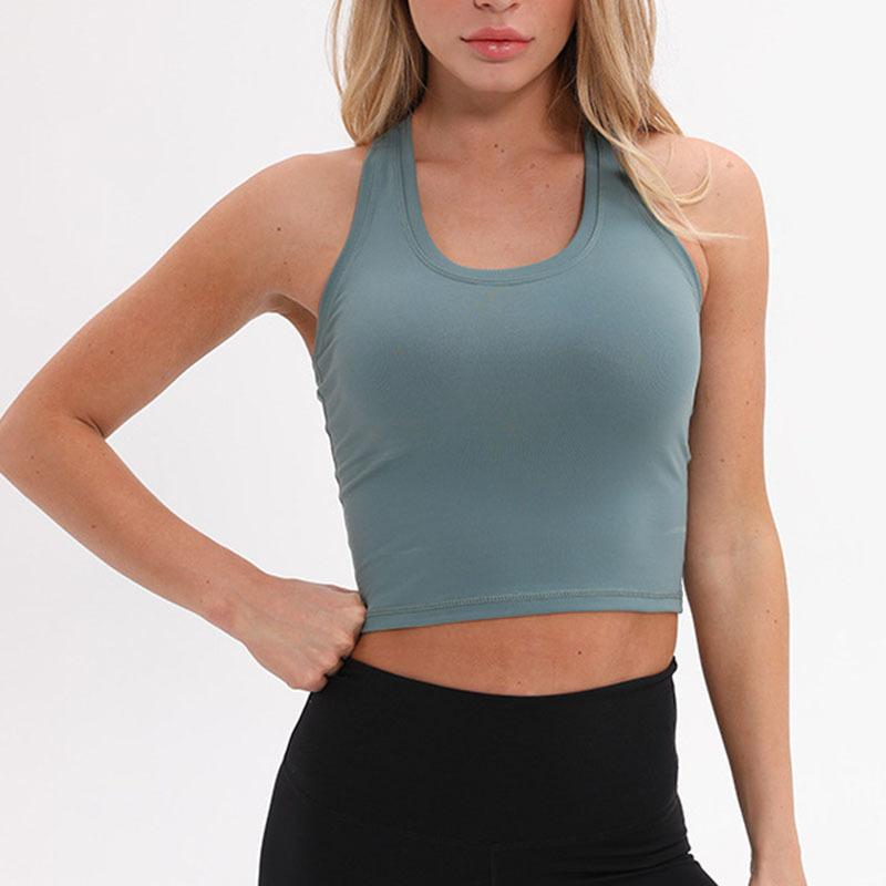 Nylon Sport F Crop Tops Frauen Weiches Material Laufweste Yoga Top-Tank Plain Gym Jogger Workout Fitness-Weste Hemd Kleidung Y200328