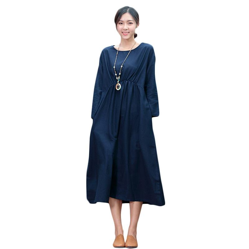 4XL 5XL Large Size Women Summer Dress Mori Girl One Piece Baggy Mid Calf Cotton Dress O-neck Long Sleeve Ladies Casual