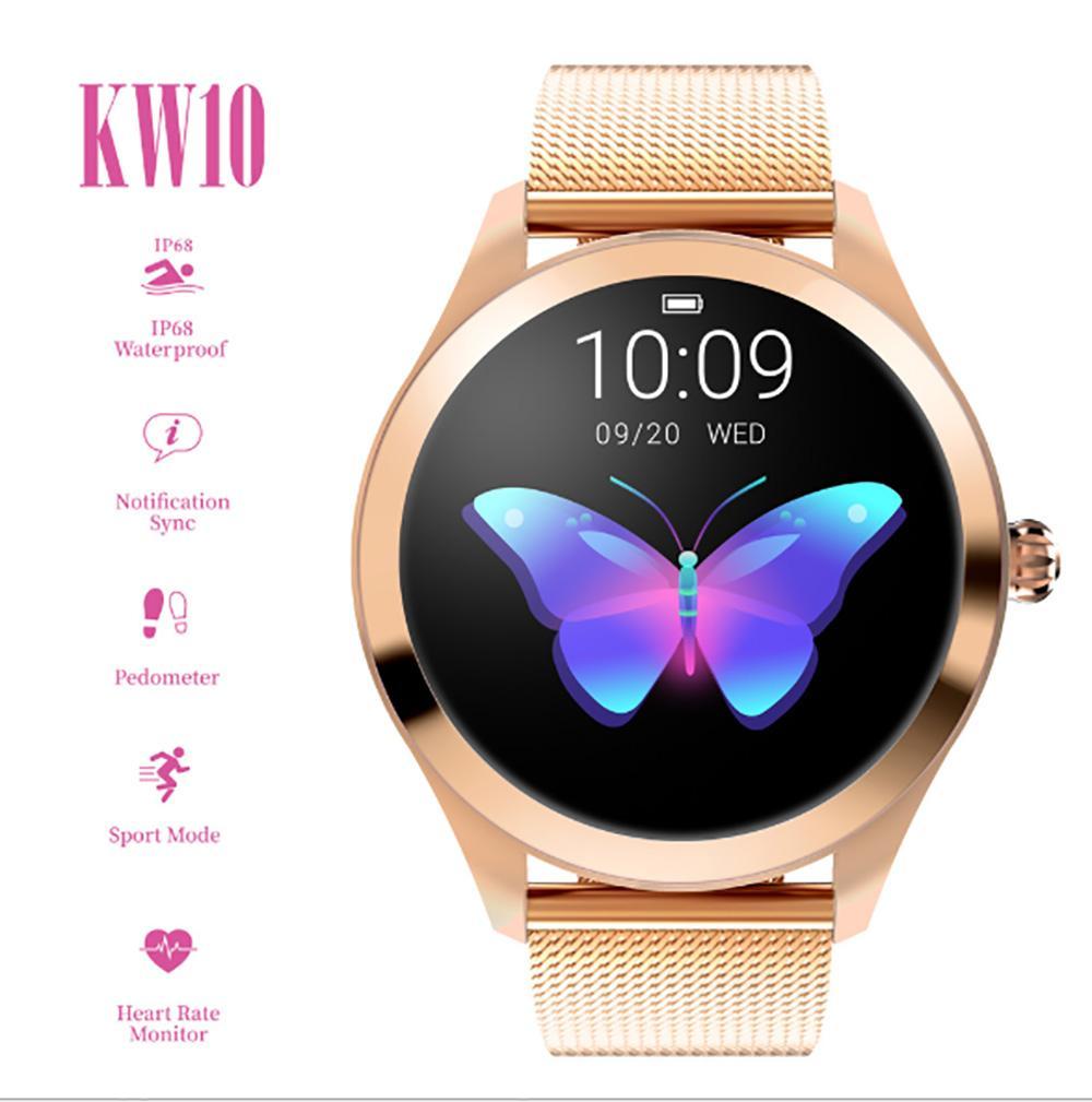 IP68 Водонепроницаемый Смарт Часы Женщины Прекрасный монитор сердечного ритма сна Мониторинг SmartWatch Connect IOS Android KW10 диапазона смарт-браслет