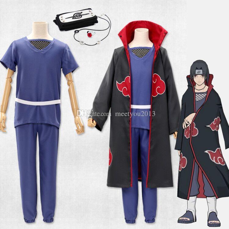 Cosplay Japon Anime Naruto Akatsuki Itachi Uchiha Deluxe Cadılar Bayramı Partisi Noel Kostüm Cloak Kafa kolye Tam Set