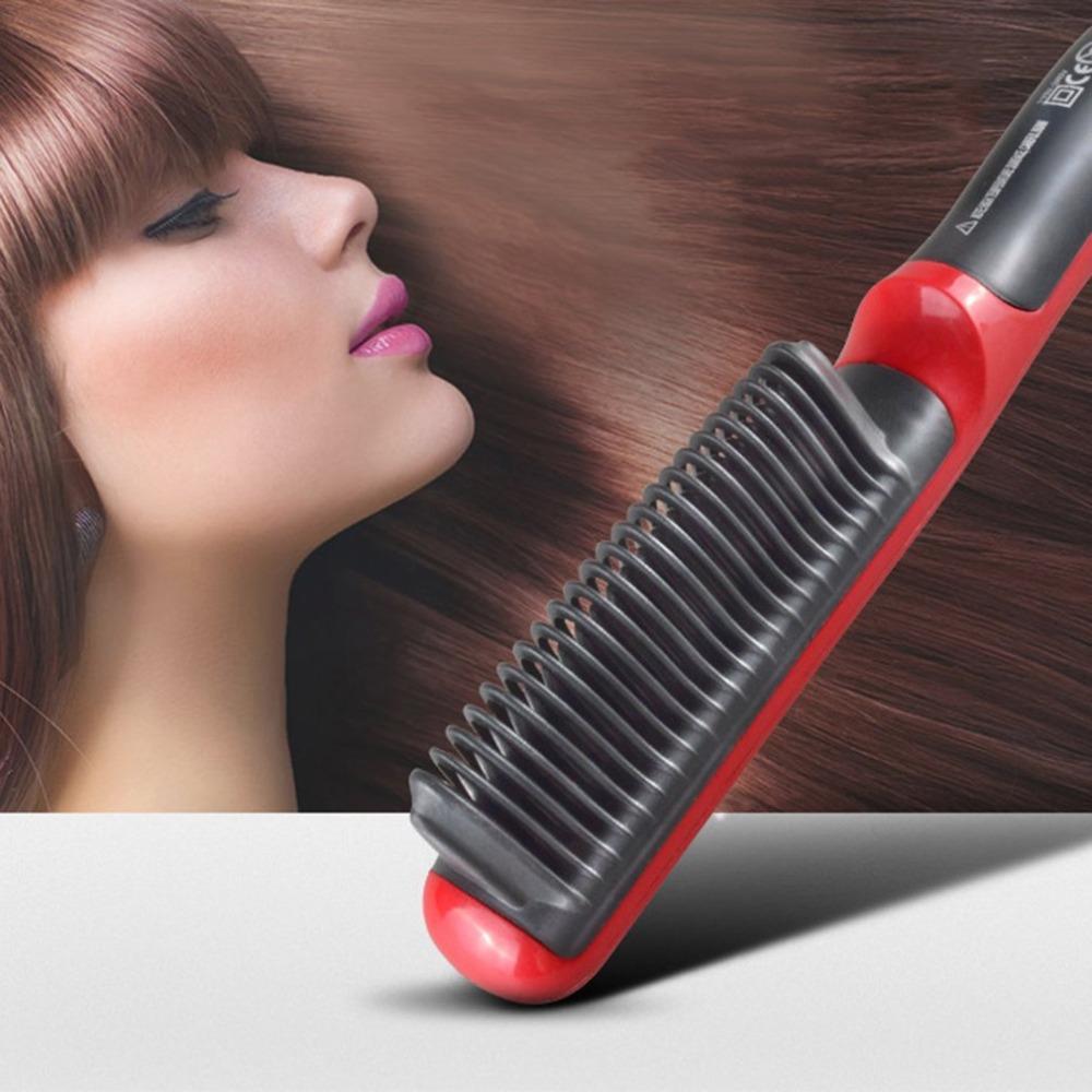 2 In 1 Durable Electric Straight Hair Brush LCD Heated Ceramic Beard Straightening Brushes Straightener Comb