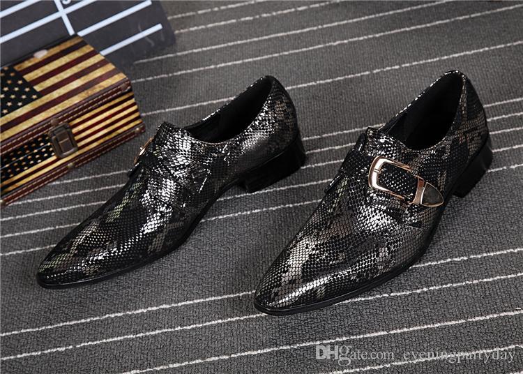 Spring European Mens Wedding Shoes Flats Black Classic Italian Shoes Men Snake Skin Leather glitter