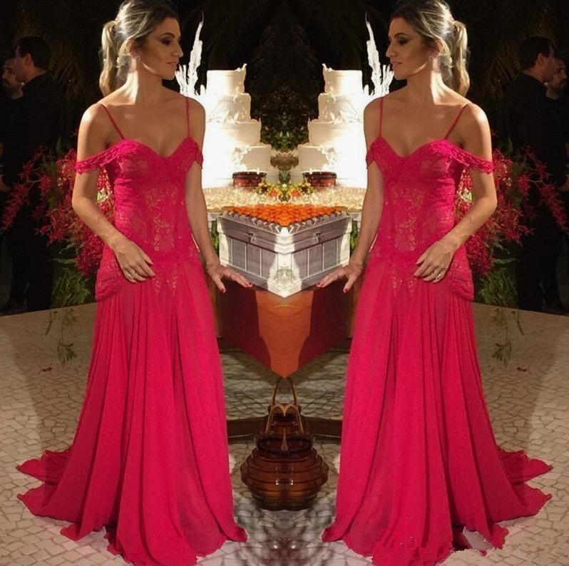 2019 Espaguete Rendas Apliques Fino Vestidos de Baile Personalizado Chiffon Formal À Noite Desgaste Do Partido Ocasião Especial Vestido Formal Vestidos De Soiree