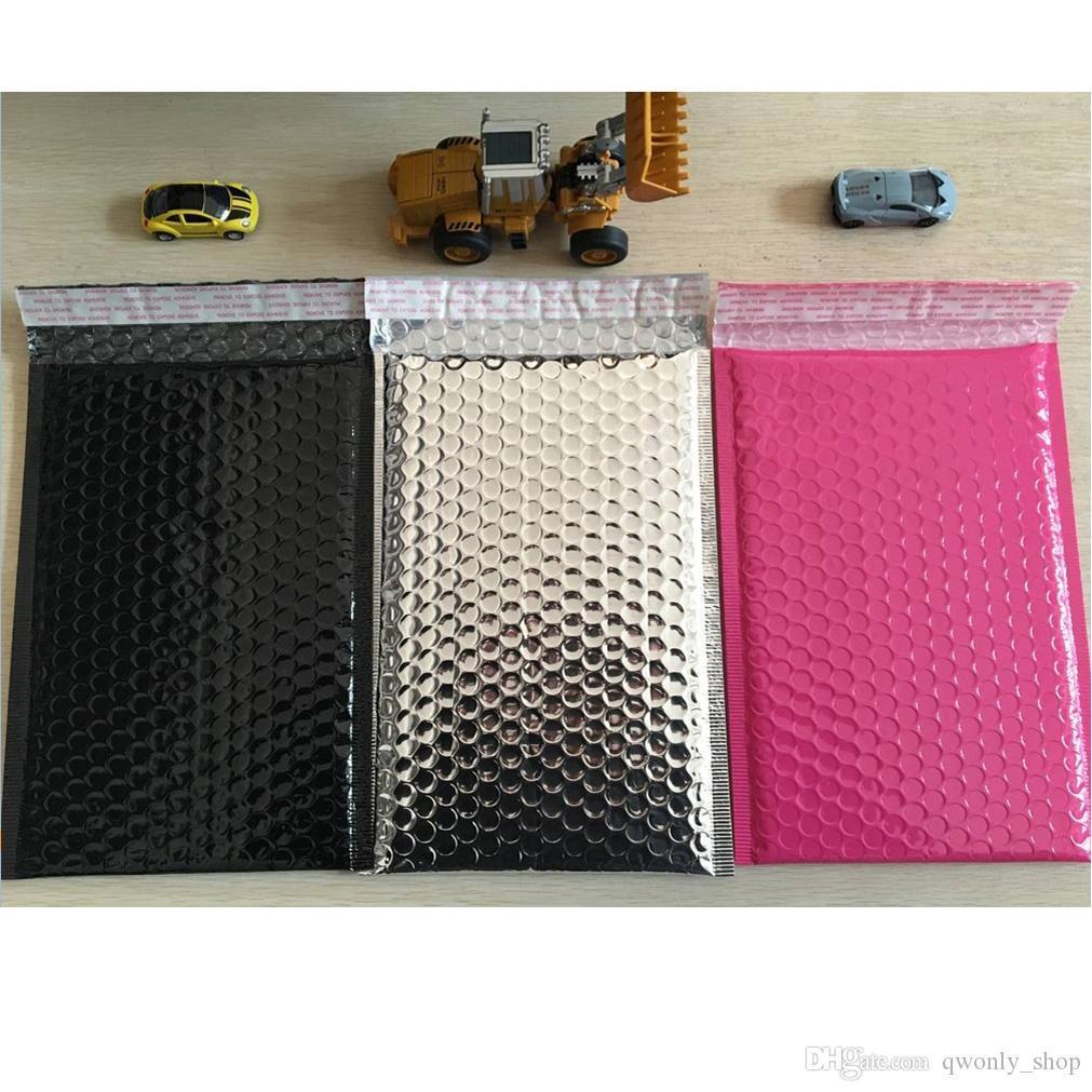 200pcs / lot-de-rosa de prata colorido sacos de embalagem 6.25X8.75inches / 160X225MM utilizável espaço Poly bolha Mailer envelopes para correspondência acolchoado saco Auto