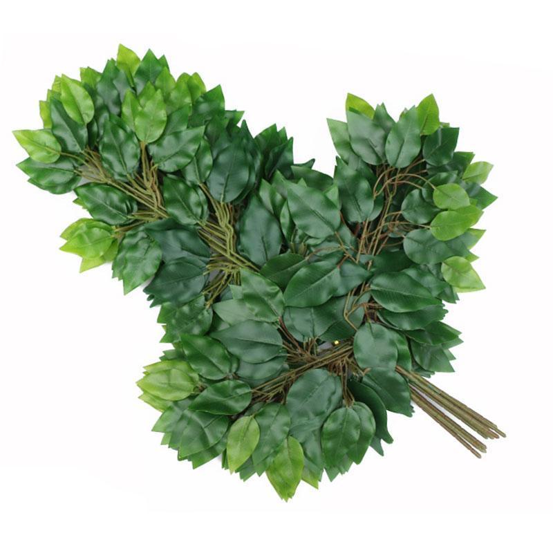 يترك 500PCS الاصطناعي وهمية الديكور ورقة البلاستيك فروع شجرة محاكاة زهرة الحرير بانيان يترك الزفاف الجنكه بيلوبا
