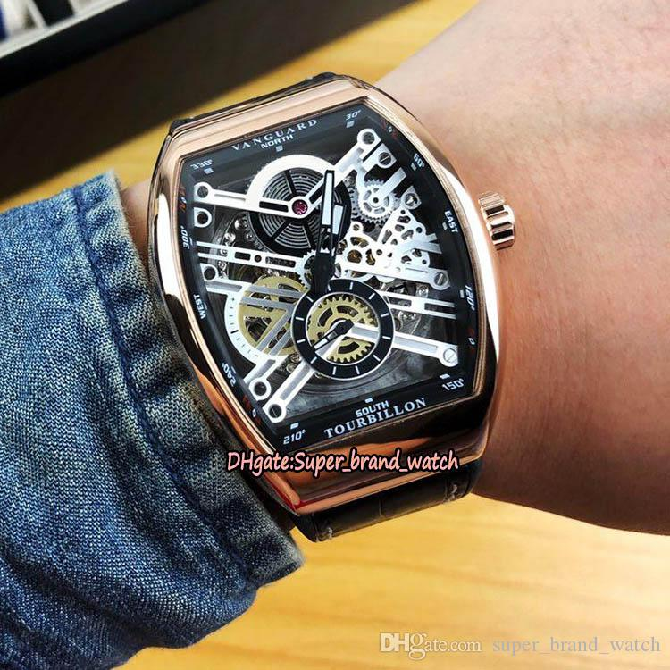 dos homens Coleção Vanguard V 45 S6 SQT NR BR (NR) prateado Skeleton Dial Automatic Mens Watch Case Gold Rose Leather Strap Esporte Relógios