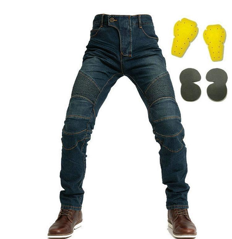 pantalones de montar motocicleta motorbikers caballero clásicos vaqueros de protección suelto recto locomotora pantalones casuales con engranajes proteger la libre