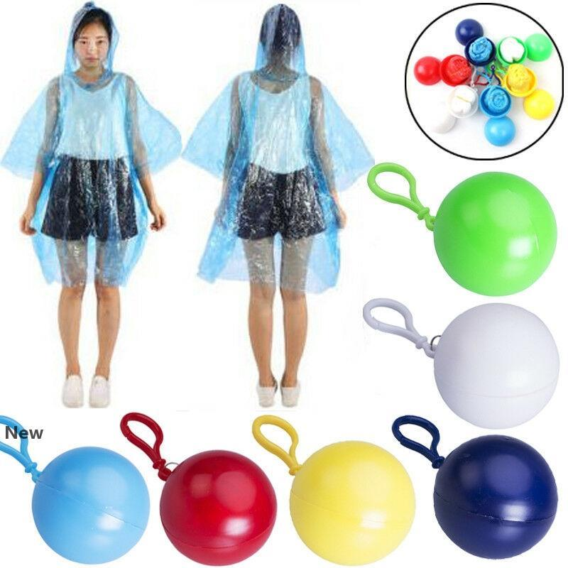 Bir seferlik Yağmurluk Tek Kullanımlık PE Trençkotlar Küresel Kafa Anahtarlık Rainwear Acil Yağmur Giyim Seyahat Tek Rainwear CCA12212 60pcs