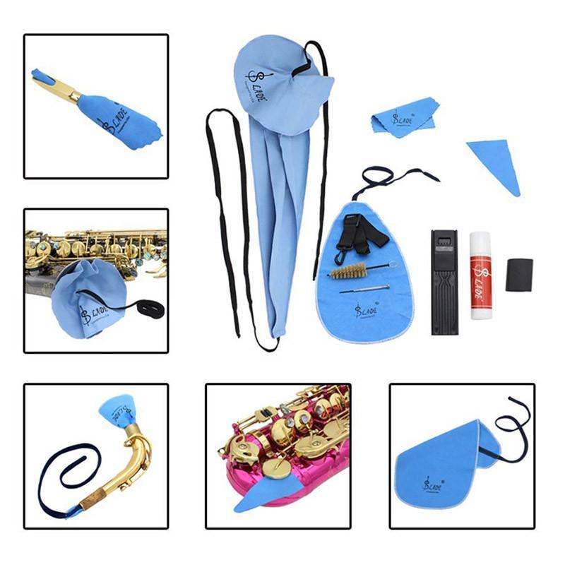 10-en-1 saxofón Limpieza Cuidado Juego de correas Cork Grease Pulgar amortiguador del resto Reed Caso Boquilla cepillo mini destornillador Accesorios