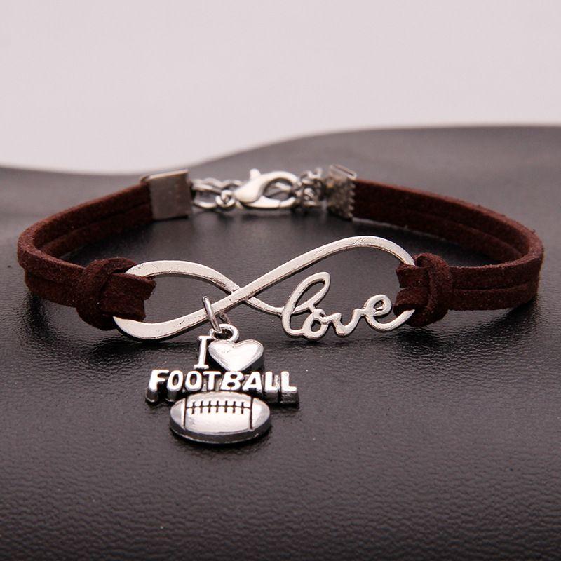 Good price New Fashion Top Dark Brown Leather Women Men Bracelets Popular Infinity Love I Heart Football DIY Handmade Weave Charm Jewelry