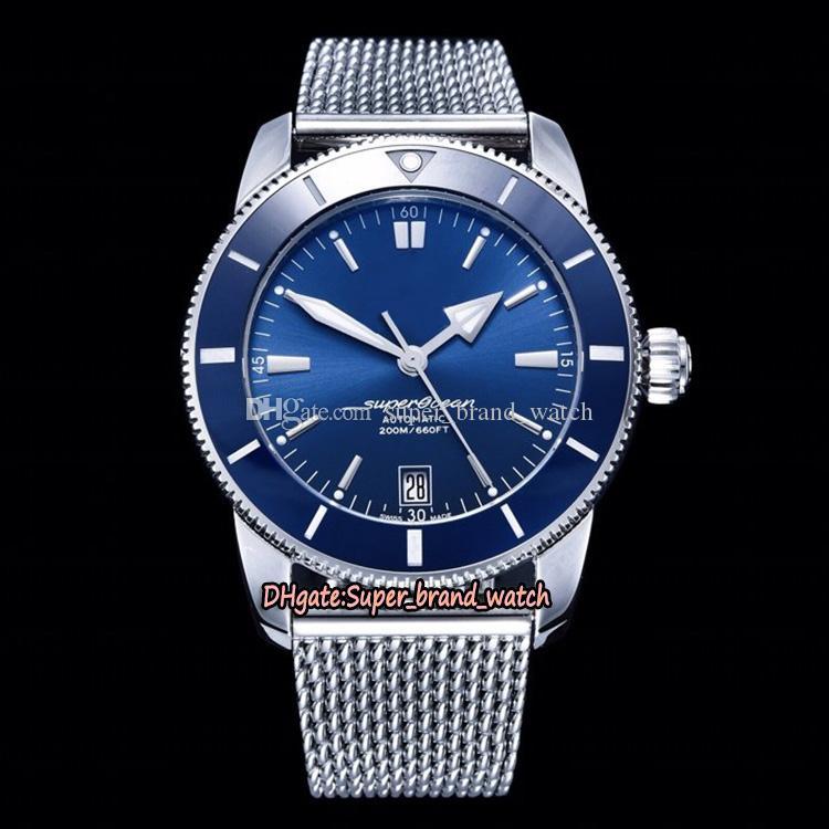 GF V2 Üst versiyon Süper okyanus Seramik Bezel Erkek İzle Çelik Kayış Tasarımcı Saatler Dial II 42 AB2010161C1A1 ETA 2824 Otomatik Mavi Tarihi