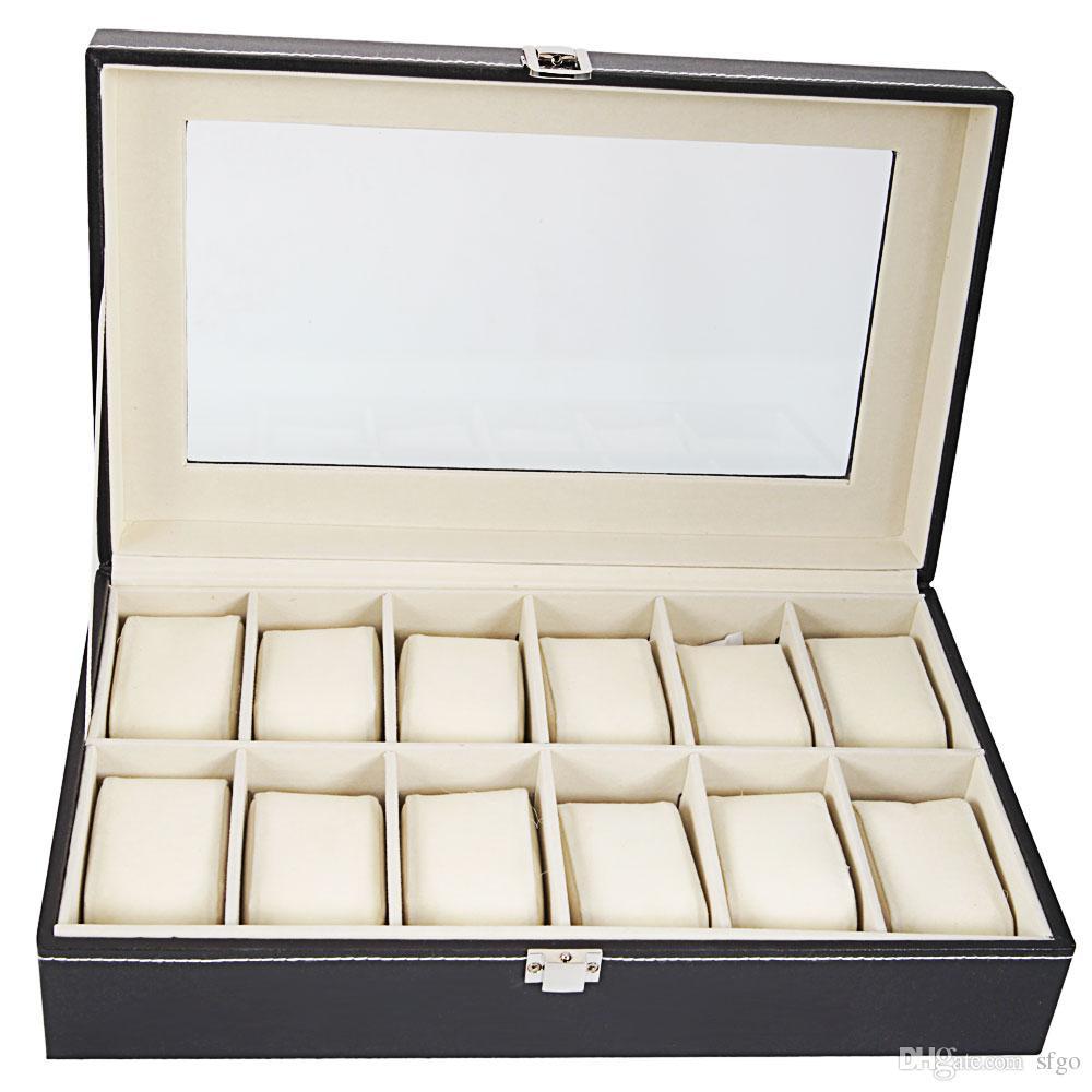Grand 12 fentes de haute qualité en cuir PU Watch Box Display Collection de bijoux cas titulaire titulaire couleur noire
