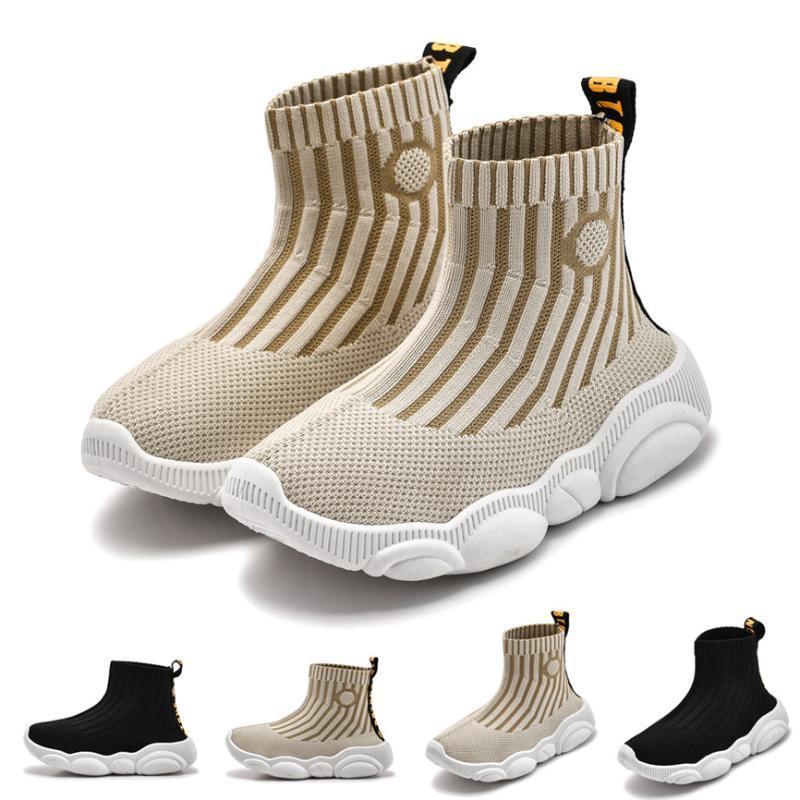 Crianças Sapatos miúdo da criança das meninas dos meninos infantil sapatos Listrado Esporte Socks Sapatilhas direto soquete Casual de sola macia