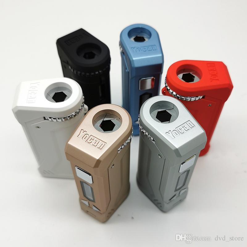 Autentisk Yocan Uni Pro Batteriladdare Kit 650mAh VV Box MOD med förvärmningsfunktion OLED DISPLAY Montera all bredd av patroner