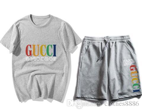 New Men and Women's Leisure Suit T-shirt Sports Shorts Two-piece Sports Shorts Couple Short Sleeves Shorts #057