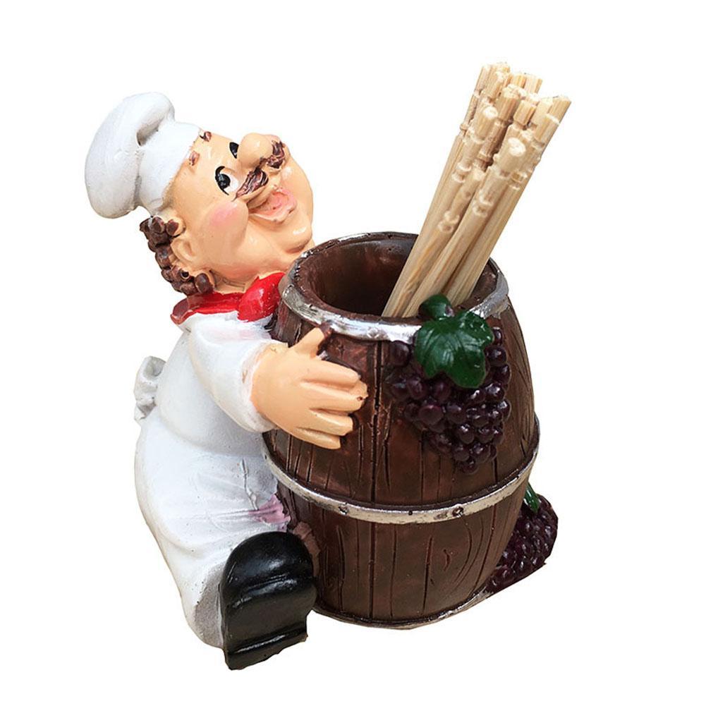 Restaurant Tisch Zubehör Küche Wohnkultur Fat Chef Form Zahnstocher Halter-Aufbewahrungsbehälter Spender kein Deckel Harzbehälter