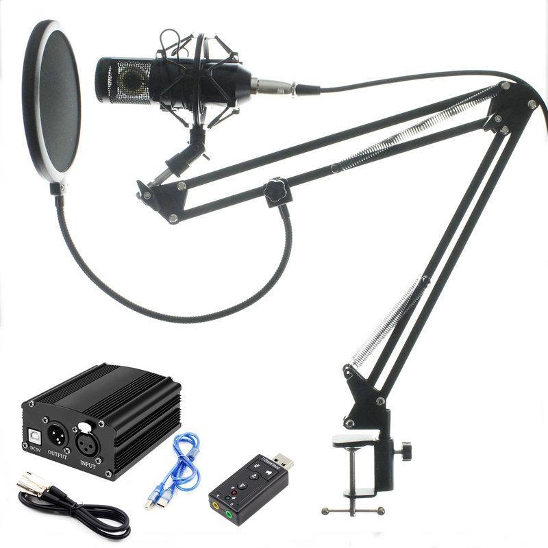 Profession Bm 800 Condenser Microphone for Computer Karaoke Mic Bm800 Phantom Power Pop Filter Multi-function Sound Card