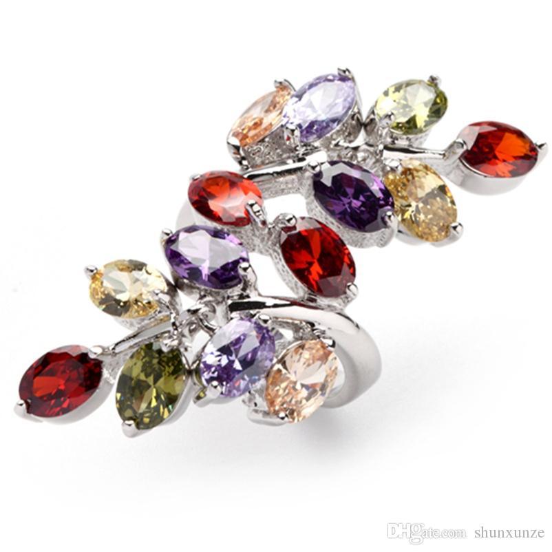 Shunxunze Luxurious Charms Vintage Bröllop Ringar För Kvinnor Morganite Rosa Röd Peridot Blå Gul Lila Kubik Zirconia Rhodin Plated R406