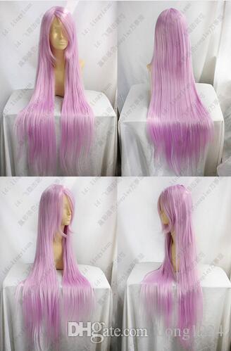 Envío libre nueva luz larga púrpura cosplay peluca los 100 cm