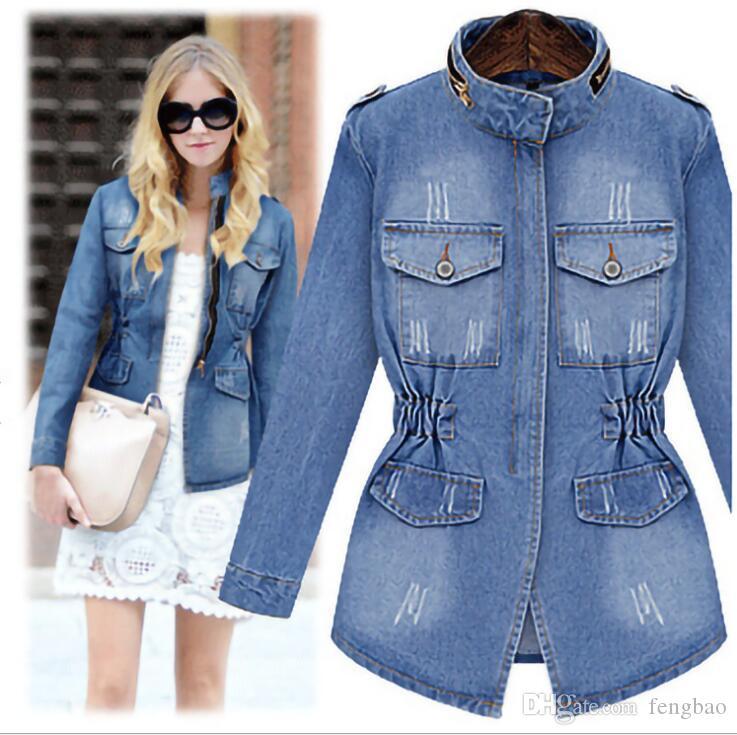 Rusia Primavera Otoño Nueva Noble estrellas dama Streetwear Chaquetas de mezclilla azul bolsillos de retazos botones Chaquetas de algodón de alta calidad # 113