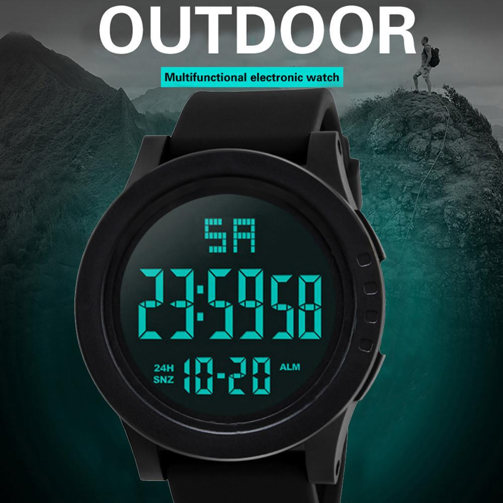 Fashion Waterproof Men's Boy Lcd Digital Watches Silicone Rubber Sport Wrist Watches Stopwatch Date Honhx Military Watch Clock