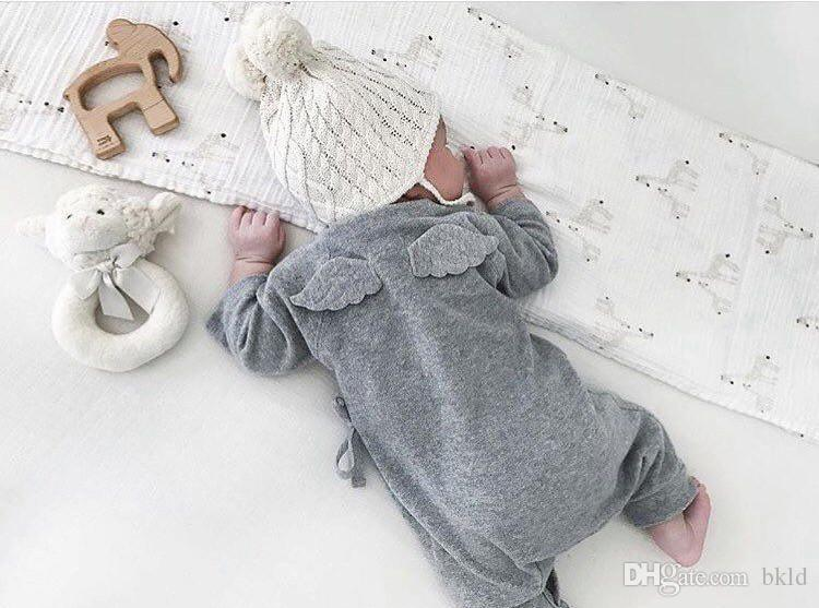 0-24m manga comprida recém-nascido infantil bebê meninos meninas romper macacão outfits bonitos ângulo traseiro asas de bebê roupas