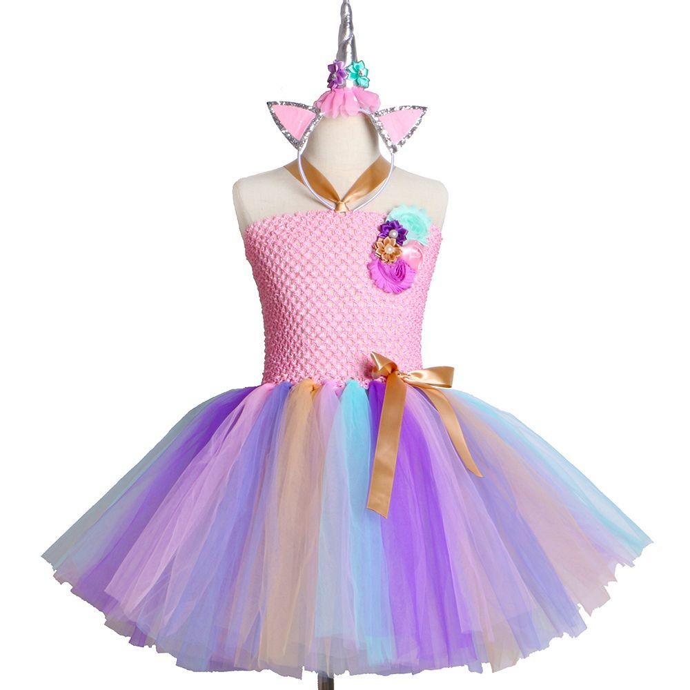 Kids Girls Unicorn Tutu Dress For Halloween Birthday Party Dress Children Girls Princess Flower Rainbow Unicorn Costume Clothes Y19061801
