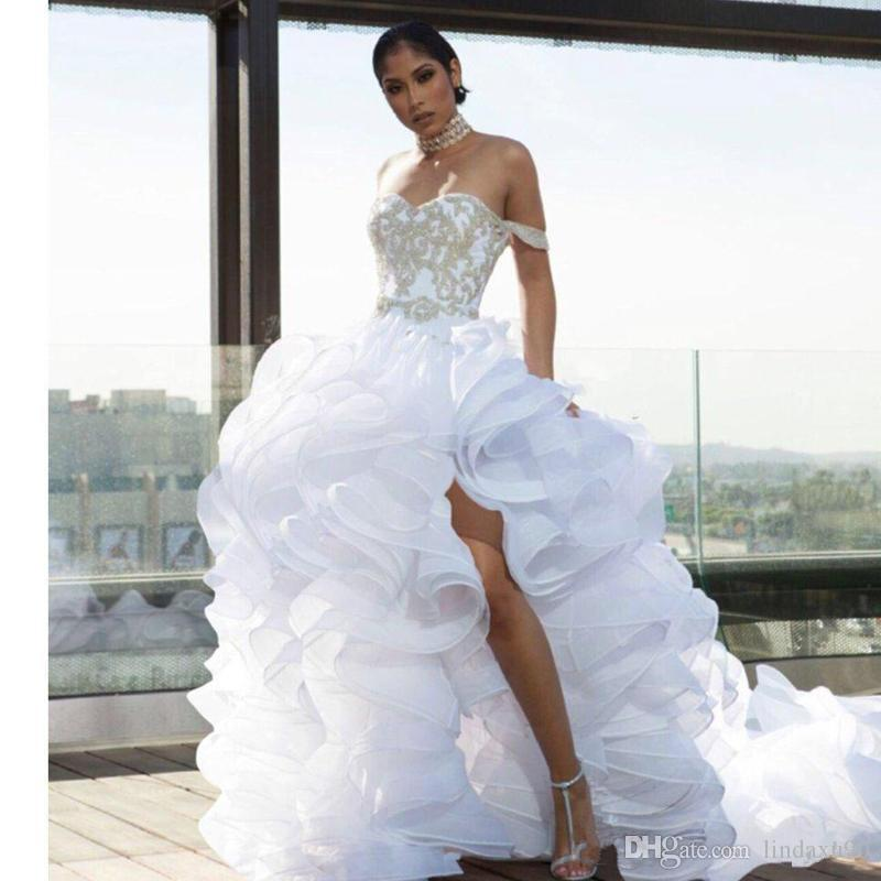 Designer Split High Low Ruffle Wedding Dresses Off the Shoulder Organza Tiers Beach Bridal Dress Plus Size vestido de noiva Wedding Gowns