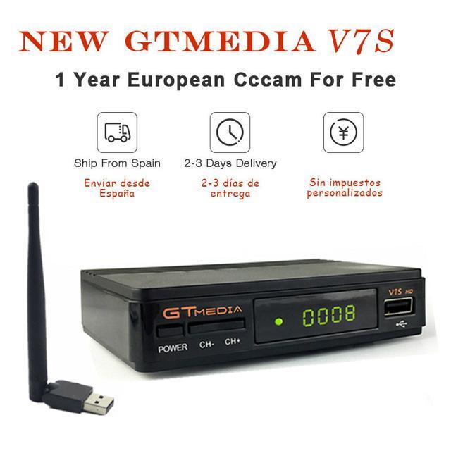 GT MEDIA V7S HD Digital Satellite TV receiver with 1 Year cccam cline server Free for Spain Spanish PayTV Support PowerVu DVB-S2