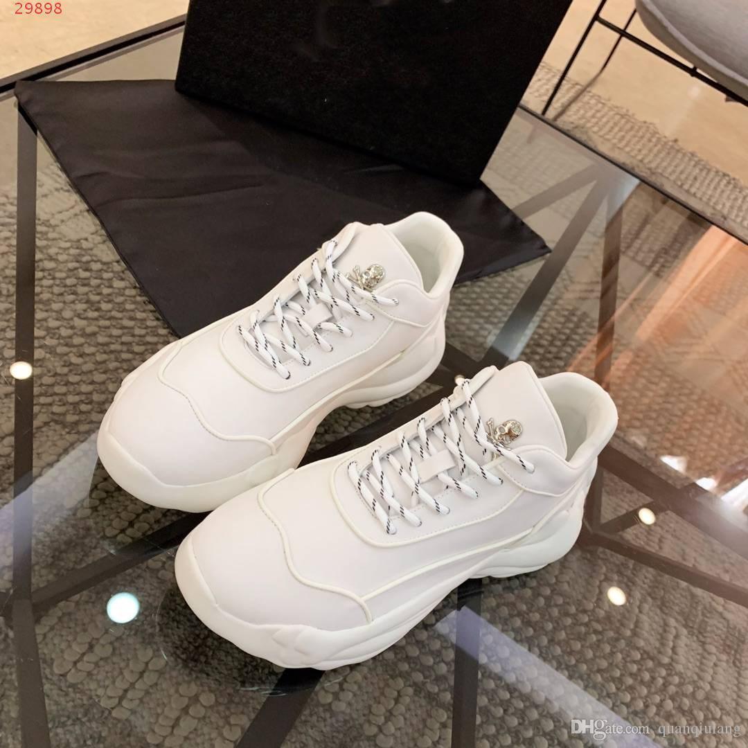 Chaussures pas cher pour hommes Designer en cuir véritable blanc caoutchouc glissière de sécurité marque unique lacées Sneakers casual chaussures de sport de crâne amortissants