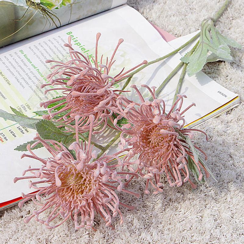 Flok Leucospermum yapay çiçekler düğün dekorasyon flores artificiales plastik sahte çiçek bitki fleur artificielle