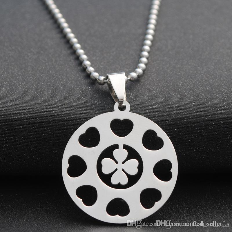 1pcs stainless steel lucky love heart four-leaf clover charm love petal flower small grass plant amulet round multiple love heart necklace