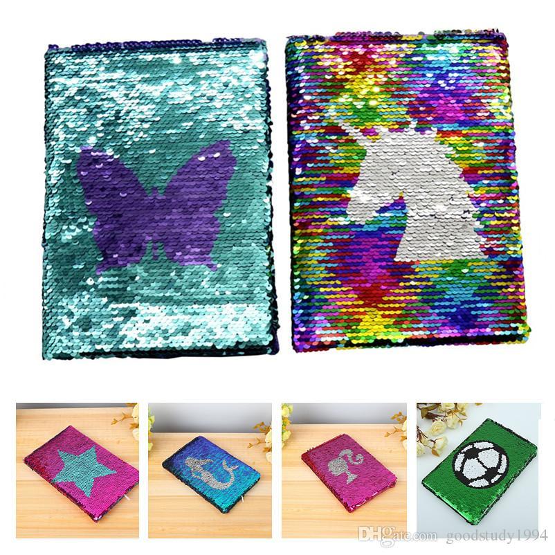 NOVA Meninas DIY Sereia Magic Diário Lantejoulas Cadernos Amor Coração Unicórnio Bola Lantejoula Notepads Escritório Diário Da Escola Papelaria Presente