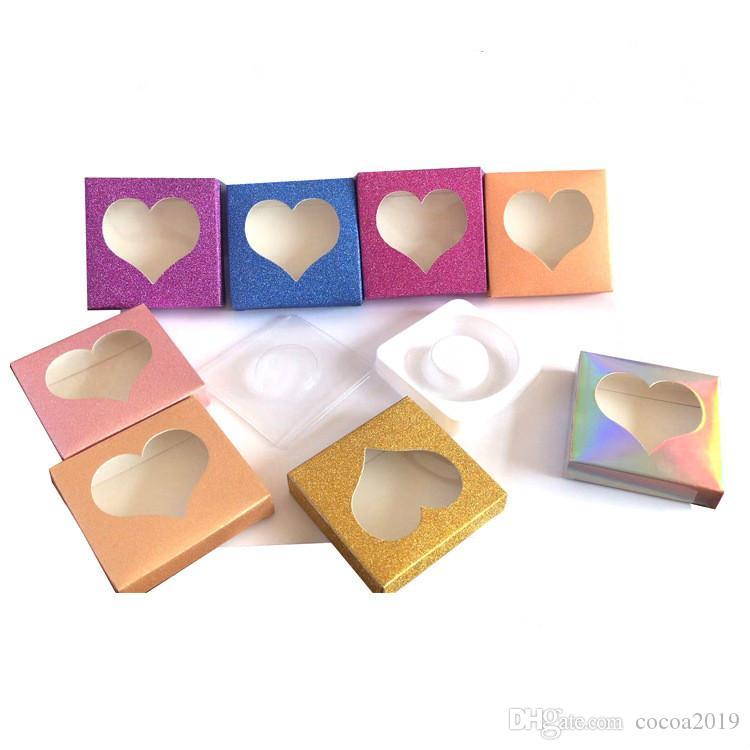 3D Mink cílios Amor Boxes forma Pacote cílios postiços embalagem caixa de cílios vazio Caso Lashes caixa de papel de embalagem 30 conjuntos