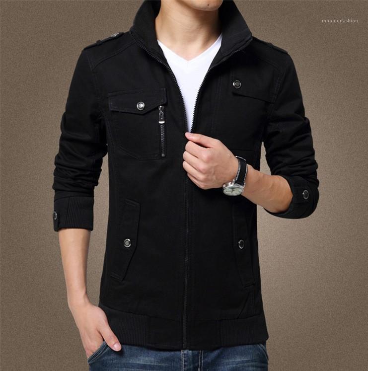 Veste coupe-vent d'automne Zipper Vestes de diseño Boutons de col Poches Jeunes hommes du survêtement des hommes de mode Casual