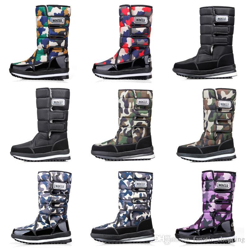 Nuovi stivali delle donne del progettista di lusso degli uomini sopra il ginocchio della coscia alta mens neve stivali invernali stivaletti piattaforma impermeabile 36-46