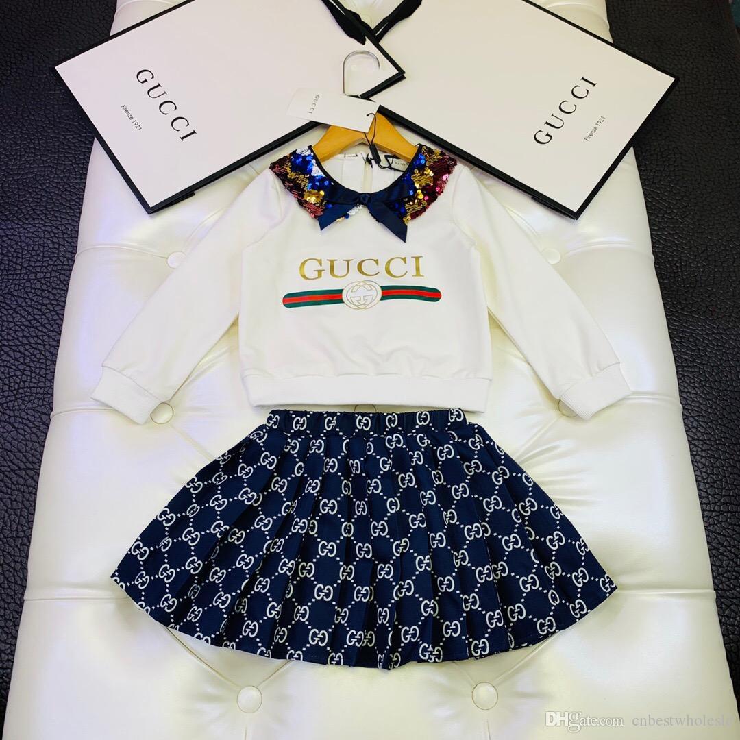 Дети девушка мода весна осень 2PCS наборы блестками перемычкой флис с юбки детей принцессы розничных комплектов одежды
