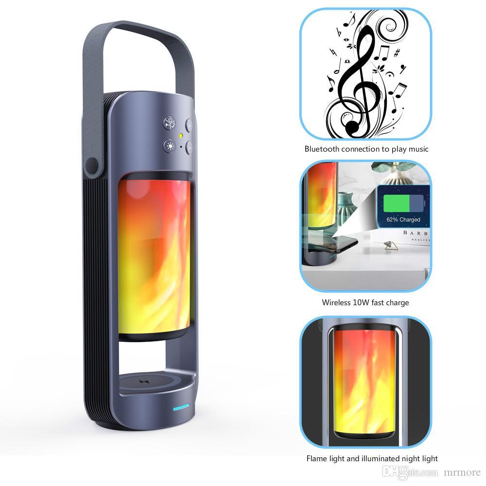 Bluetooth Hoparlör Kablosuz Şarj Bas Destek T WS SD ile HIFIsound etkisi Taşınabilir Alev Gece aydınlatması LED / USB PlugPlay hoparlör