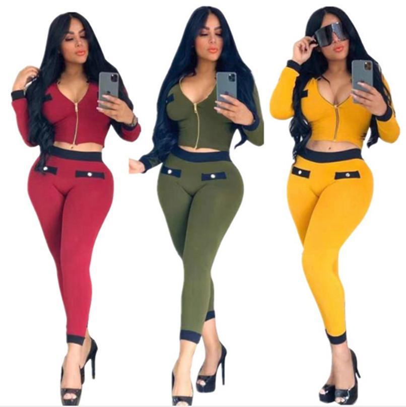 pantolon 2adet gündelik patchwork eşofman jogging yapan takım 2218 set + Güz kış YENİ Kadın kıyafetler düz renk spor fermuar ceket kırpma üst