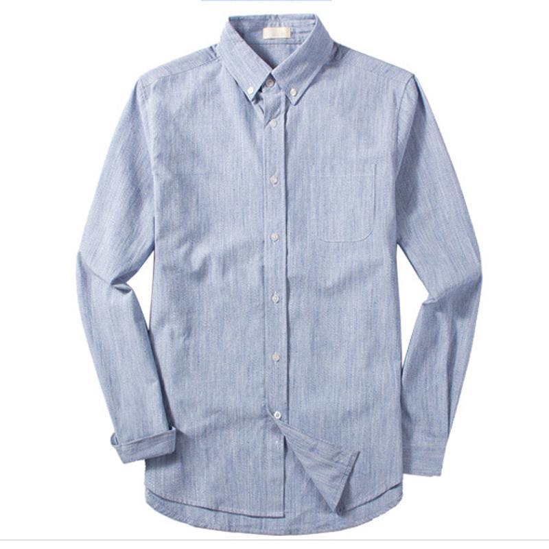 Herrenhemden Baumwolle Langarm beiläufige Art und Weise Mans Leinen Shirts European Style Sommer Street Herren-Marken-Kleidung A729