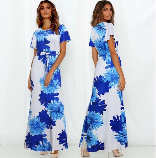 2020 nuovi modelli esplosione transfrontaliera primavera estate delle donne americane europea del vestito dalla stampa cinghia a maniche corte vestiti casuali