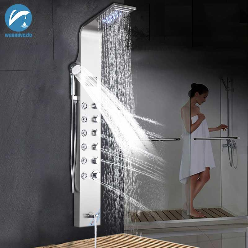Wall Mounted Brushed Nickle Bathroom Shower Faucet LED With Hand Shower Temperature Screen Shower Panel Column Bathtub Mixer Tap